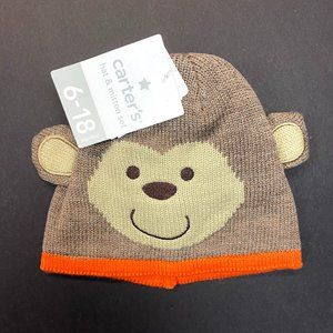 Carter's Baby Hat & Mitten Set - Brown Monkey